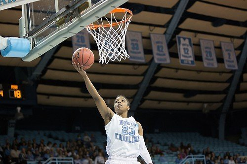 Diamond DeShields hits an open layup against Michigan State.