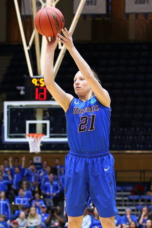 DePaul's Megan Rogowski sets sights on another three points.