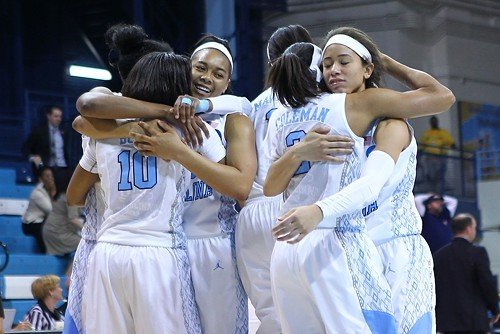 UNC players celebrate after their 18-point comeback. (L-R) Diamond DeShields, Danielle Butts, Allisha Gray, Stephanie Mavunga, Latifah Coleman, Jessica Washington.