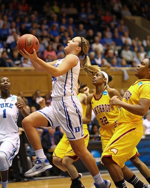 Tricia Liston drives for a layup. Duke's No. 1 is Elizabeth Williams, and Winthrop's No. 22 is Dequesha McClanahan.