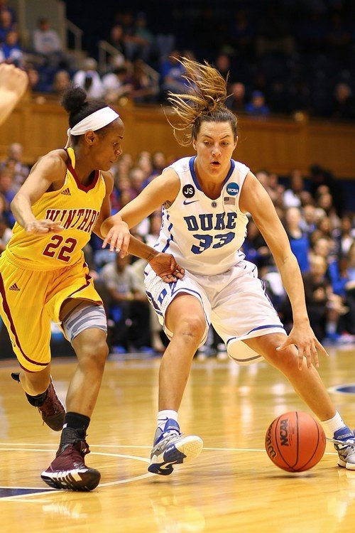 Duke's Haley Peters dribbles against Winthrop's Dequesha McClanahan.