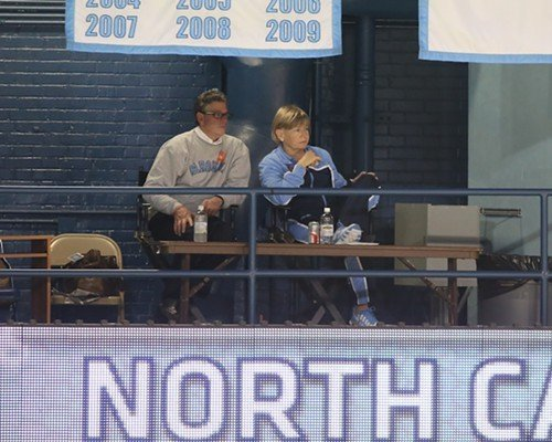 UNC coach Sylvia Hatchell watches her team from the de facto skybox.