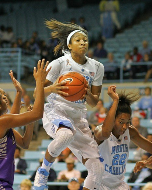 UNCs Danielle Butts takes to the air while NDea Bryant ducks.