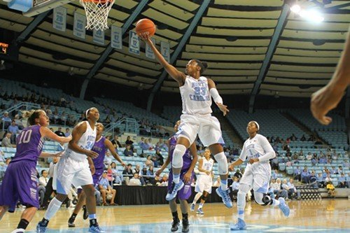 Diamond DeShields goes up for the layup. High Point's No. 10 is Lindsay Puckett; UNC's No. 34 is Xylina McDaniel and No. 1 is Stephanie Mavunga.