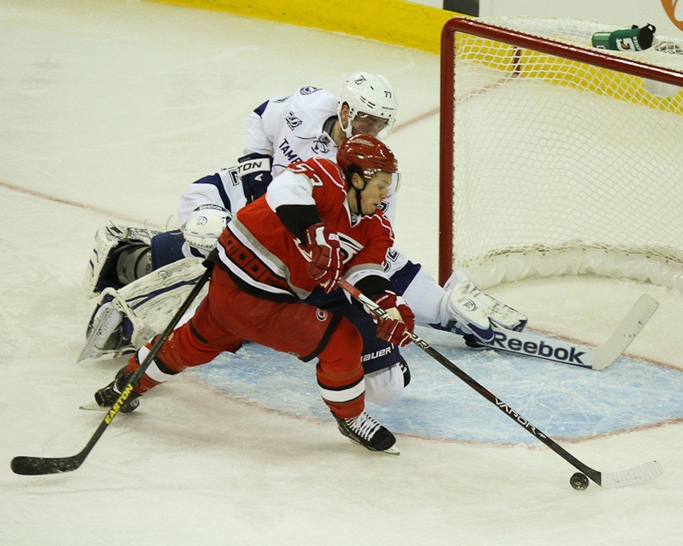On Eric Staals wing, Jeff Skinner hung a hat trick on the Capitals.
