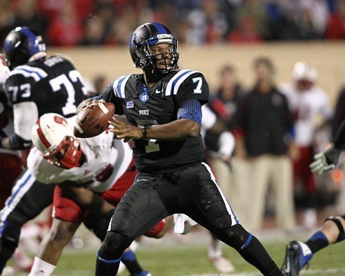 Duke QB Anthony Boone looks for a receiver.