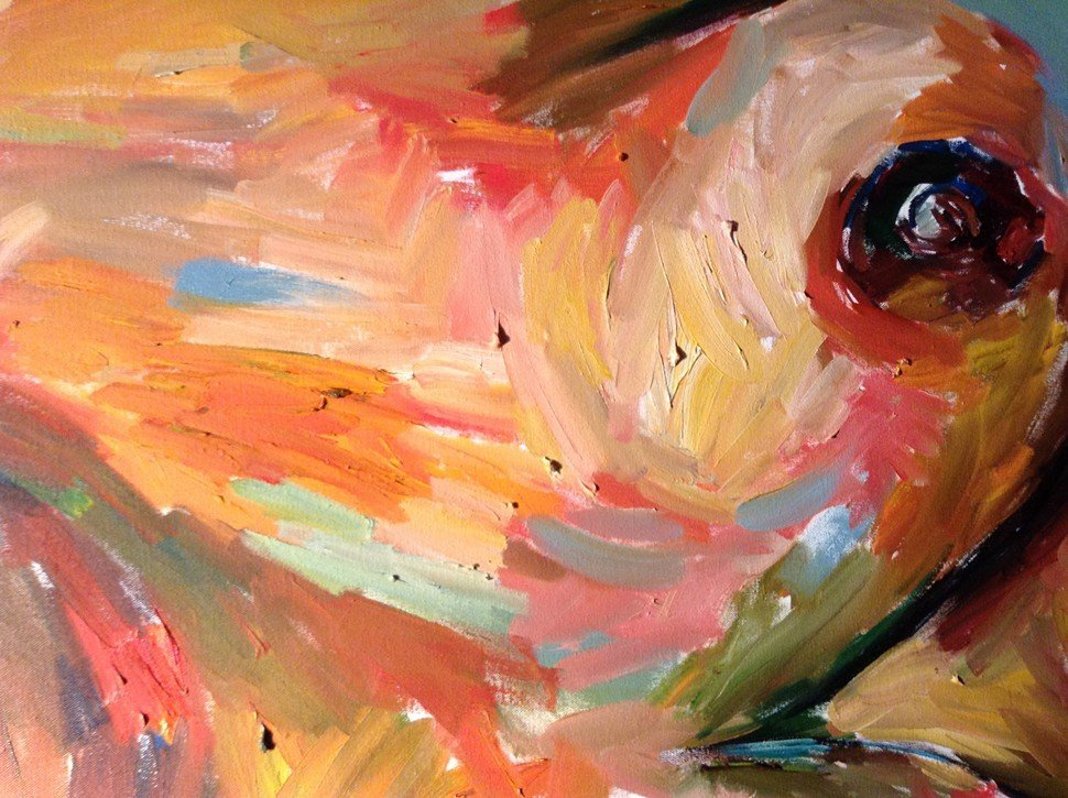 Detail of My New Breasts, Beverly McIver, oil on canvas, 2012.