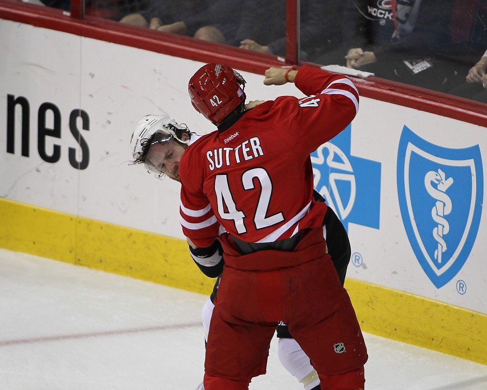 Brett Sutters first-period tussle with Joe Vitale failed to spark the Canes, who fell 3-1 at home to the Penguins.
