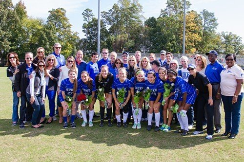 The whole Duke team poses for a Senior Day pre-game portrait.