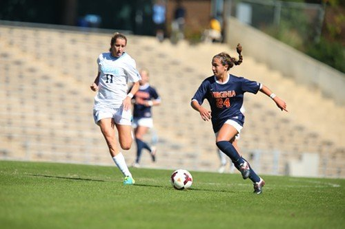Virginia's Danielle Colaprico dribbles against the Tar Heels' Kelly McFarlane.