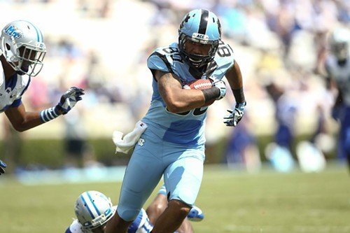 UNC TE Jack Tabb finds running room against Middle Tennessee.