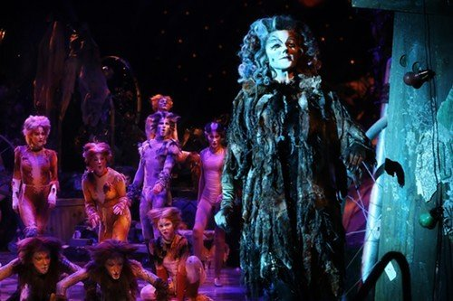 Grizabella (Jennifer Shrader) confronts kitty mortality in Cats.
