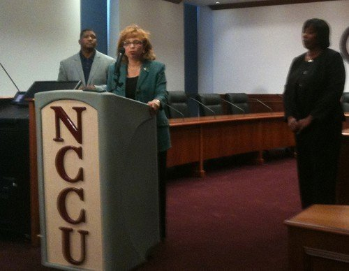From left: NCCU interim head coach Dwayne Foster, NCCU Chancellor Debra Saunders-White and NCCU athletic director Ingrid Wicker-McCree at Thursdays brief press conference