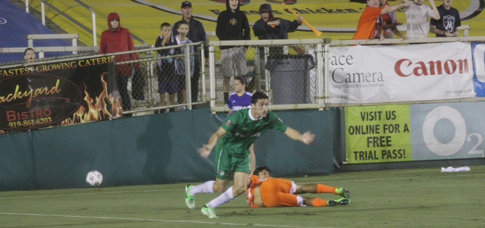 New York Cosmos defender Hunter Gorskie pleads his case after being whistled for a penalty during a 3-0 loss to the Carolina RailHawks Saturday at WakeMed Soccer Park in Cary, NC