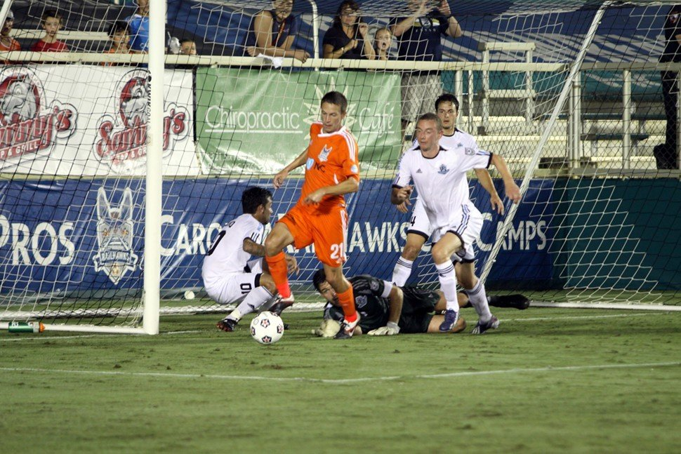 Brian Shriver scrambles in front of goal during the Carolina RailHawks 1-0 win over FC Edmonton Saturday night at WakeMed Soccer Park in Cary, NC