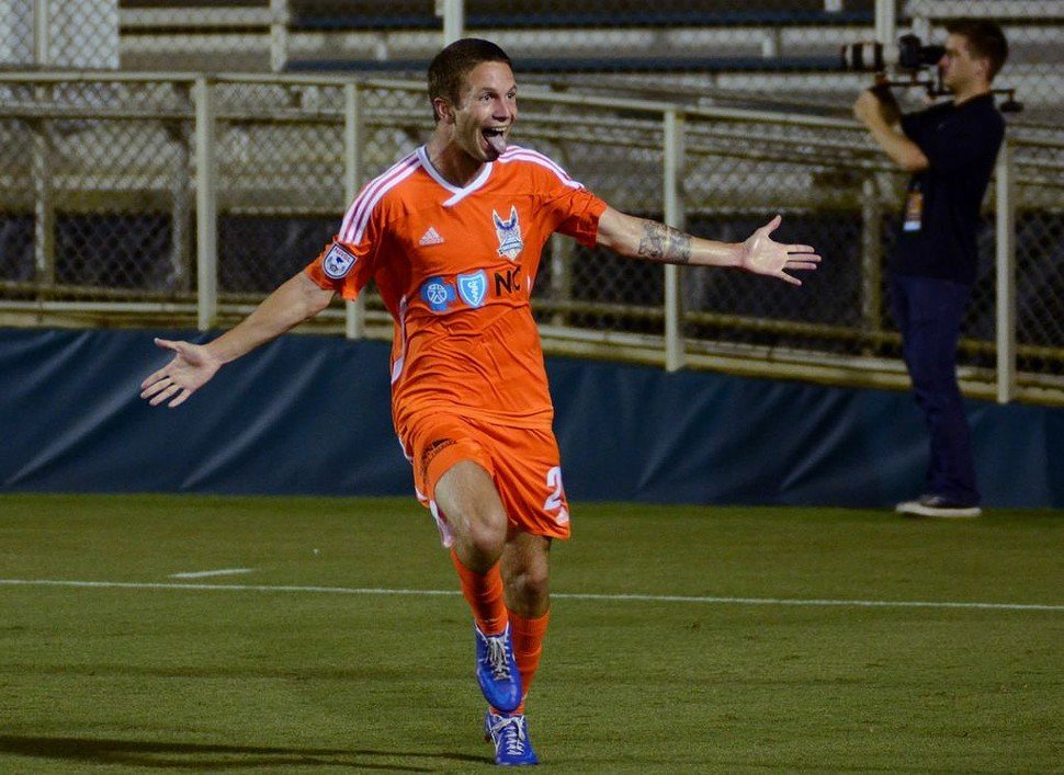 Brian Shriver celebrates his game-winning goal in the Carolina RailHawks 3-2 comeback victory over Minnesota United FC at WakeMed Soccer Park in Cary, NC