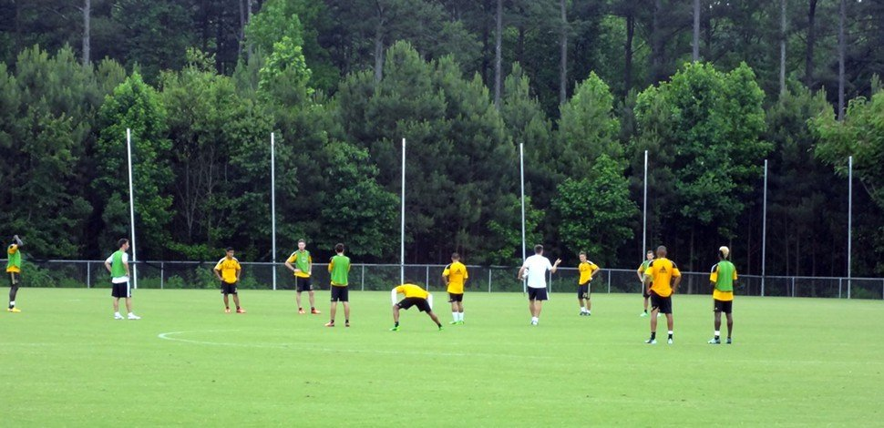 The L.A. Galaxy train Tuesday at WakeMed Soccer Park in Cary, N.C.