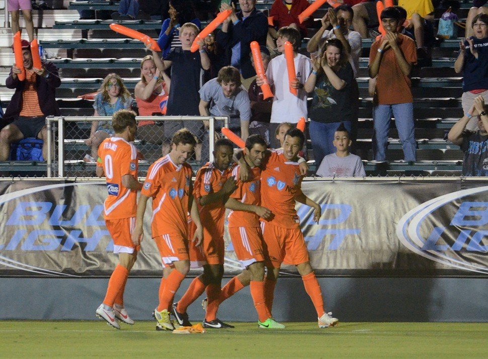 Austin da Luz and his RailHawks teammates celebrate his goal during Carolinas 2-1 victory over FC Edmonton in Cary, N.C.