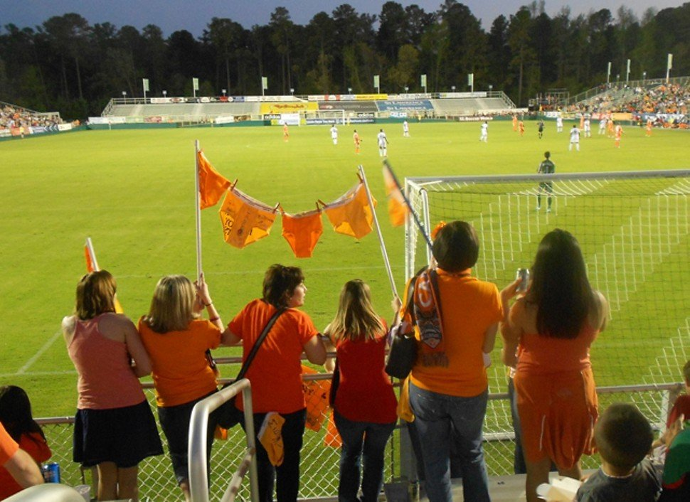 Some of the 5,033 in attendance Saturday night at WakeMed Soccer Park, presented without further explanation or comment