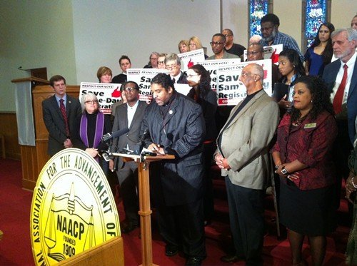 The Rev. William Barber and allies at Pullen Baptist today.