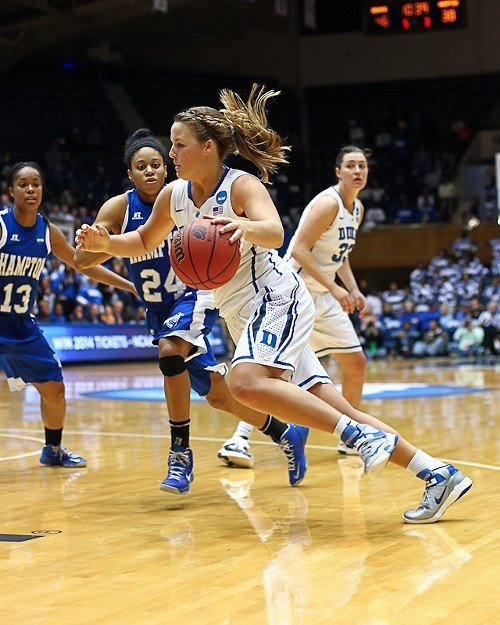 Tricia Liston drives to the hoop against Hampton's Keiara Avant (13) and Olivia Allen (24). Duke's No. 24 is Haley Peters.