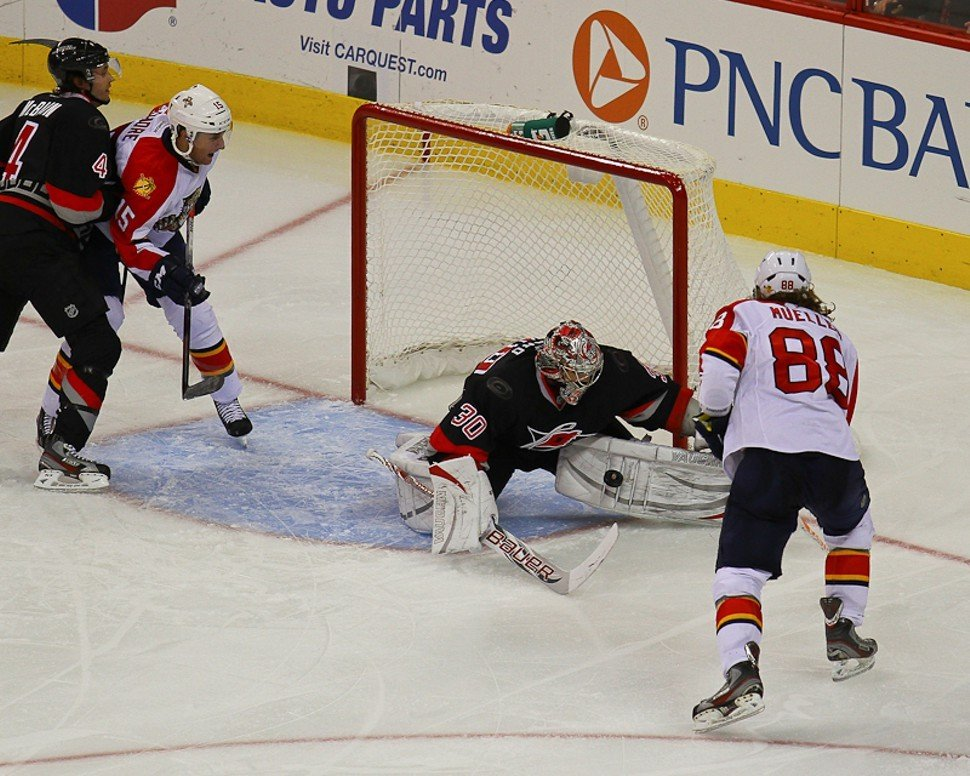 Cam Ward makes a save in a recent tilt with the Florida Panthers, who wont be a division rival much longer.