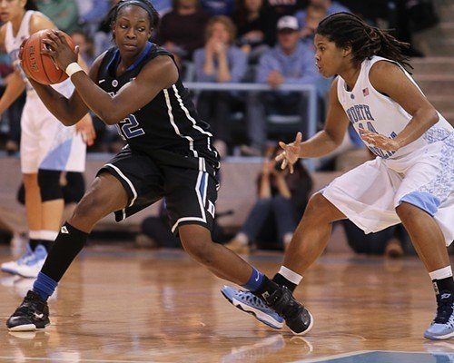 Dukes Chelsea Gray holds the ball as UNCs Tierra Ruffin-Pratt defends.