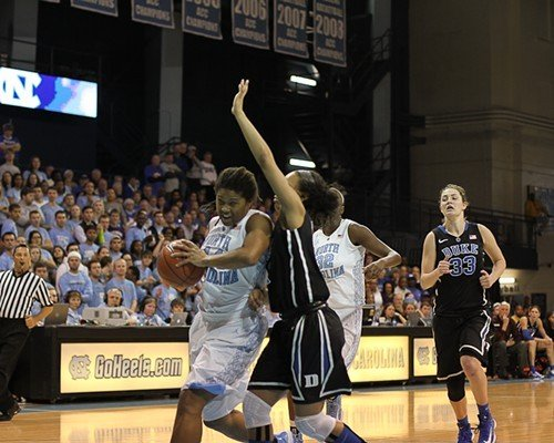 UNCs Tierra Ruffin-Pratt drives with Dukes Chloe Wells defending as UNCs Waltiea Rolle and Dukes Haley Peters trail.