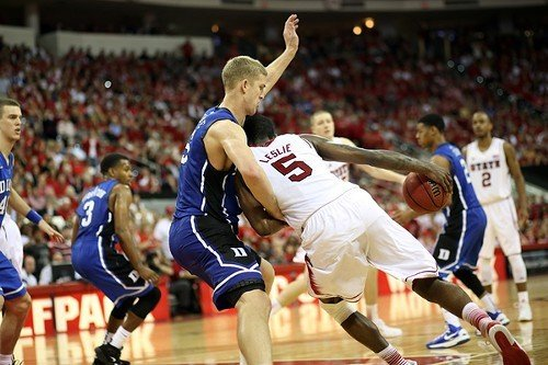 C.J. Leslie, giving his best effort and respect to Duke and Mason Plumlee