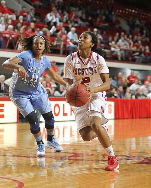 The Wolfpack's Len'Nique Brown drives while UNC's Brittany Rountree provides defense.