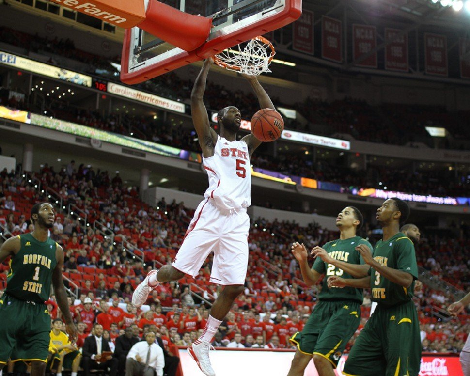 C.J. Leslie slams home two of his 11 points during N.C. States 84-62 win over Norfolk State