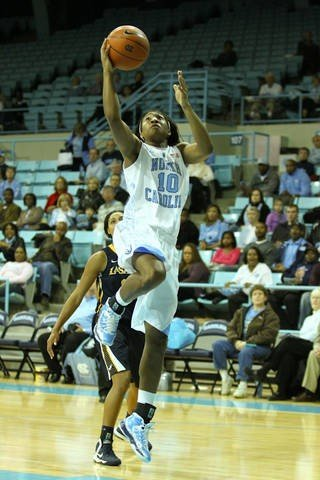 Danielle Butts scores on a breakaway layup for the Tar Heels.