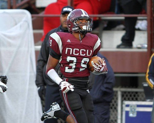 Sayyid Muhammad sprints down the sideline after picking up a blocked kick.