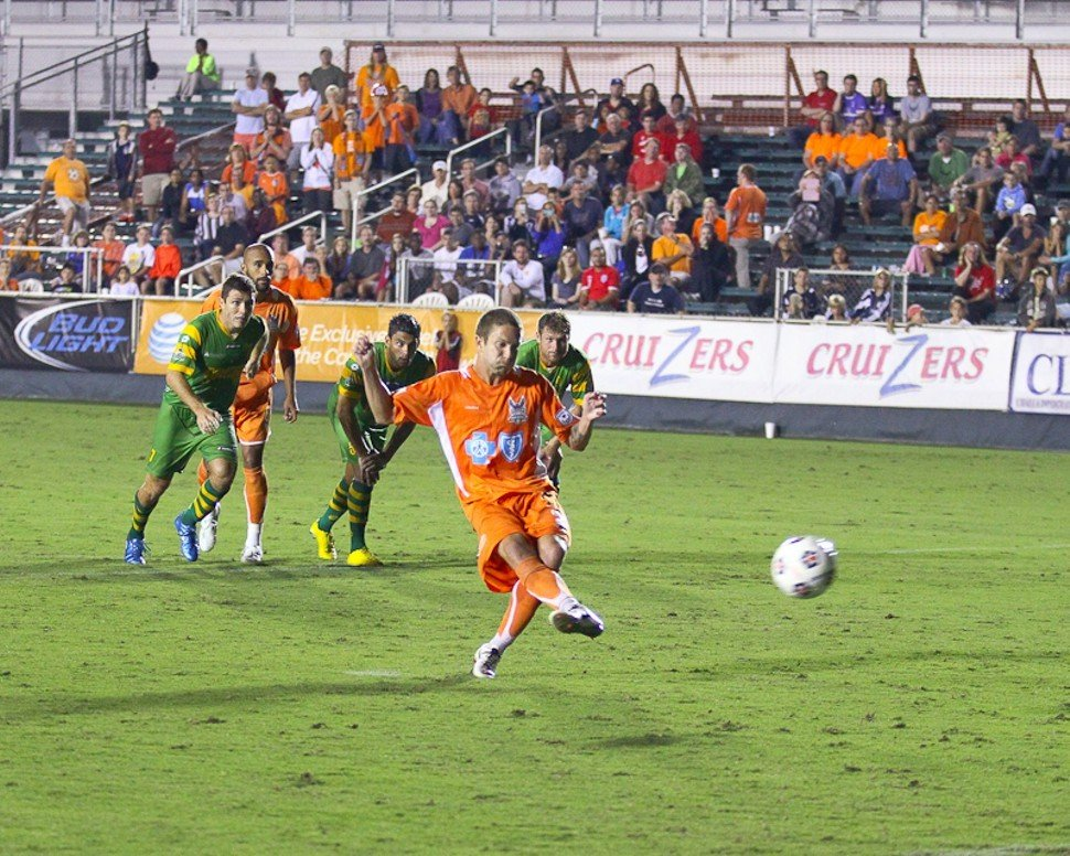 Brian Shriver buries a PK, but the Carolina RailHawks come up short to the Tampa Bay Rowdies 2-1 Saturday in Cary