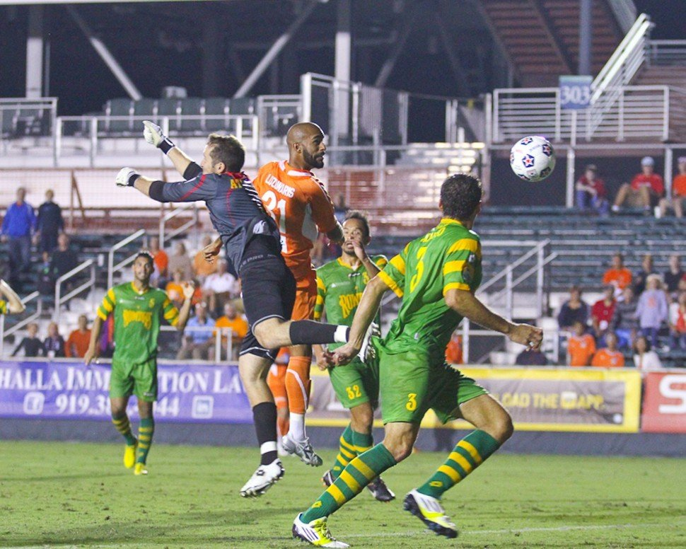 Matt Luzunaris connects on a wayward header during the RailHawks 2-1 loss to the Rowdies