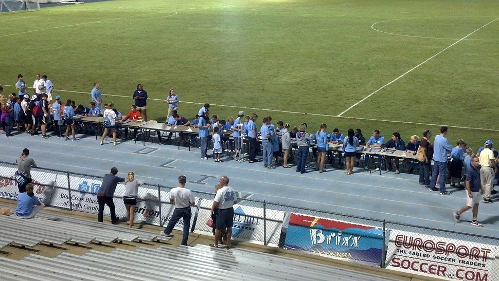 At least the fans scored...autographs after the Tar Heels 0-0 draw with Wake Forest in Chapel Hill
