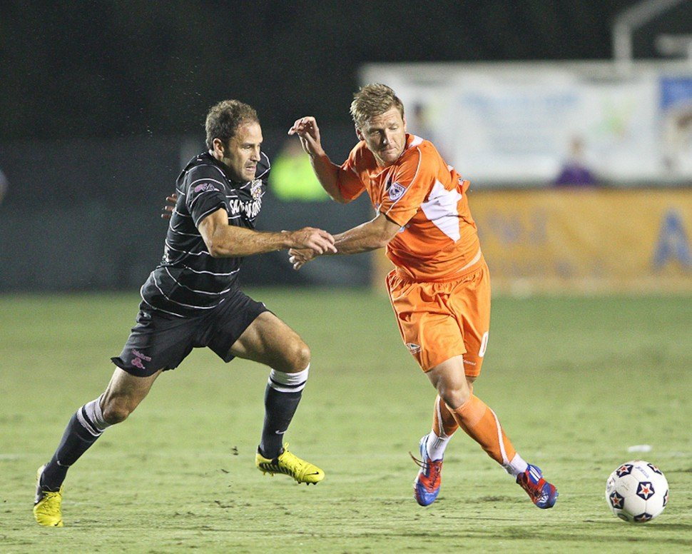Floyd Franks gets handcuffed during the Carolina RailHawks 1-0 loss to San Antonio Saturday in Cary