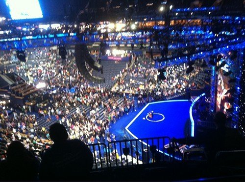 My vantage point Tuesday at the Time Warner Arena. Fortunately, I could watch on the big screen too.