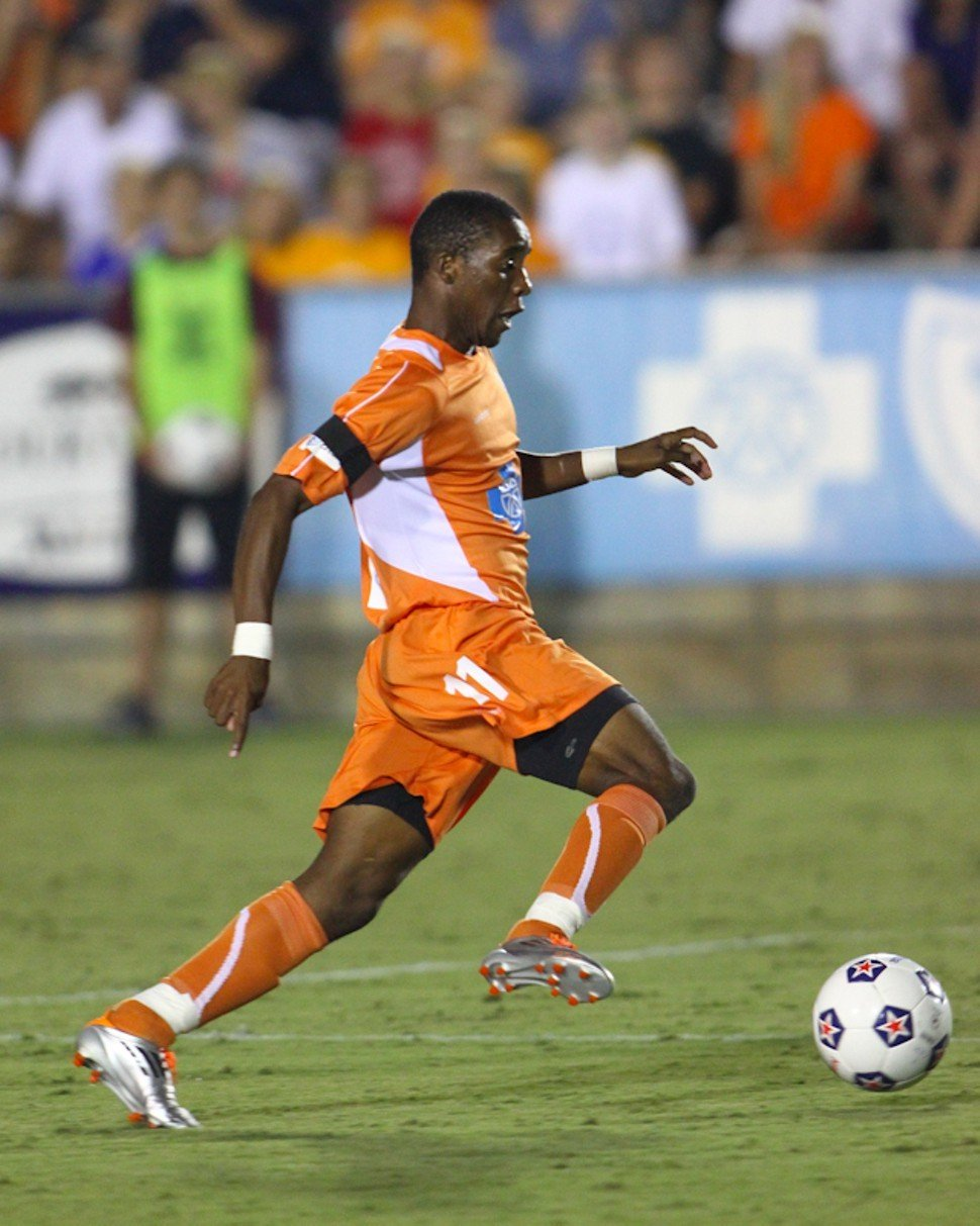 Ty Shipalane streaks towards his game-winning goal against FC Edmonton
