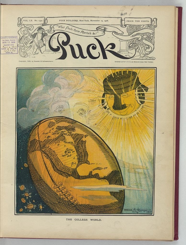 A 1906 magazine cover spoofing the role of football on college campuses