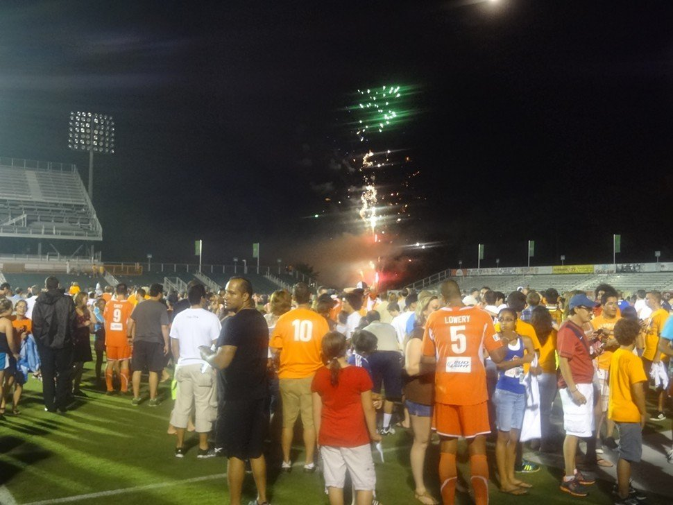 Fireworks light up the nighttime Cary sky following the Carolina RailHawks 2-1 win over the Atlanta Silverbacks