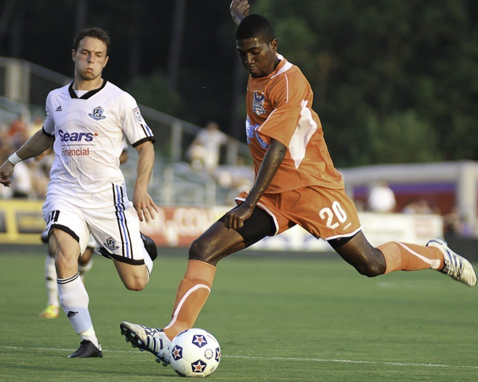 Breiner Ortiz fires away his first goal this season during the Carolina RailHawks 2-0 win over FC Edmonton in Cary