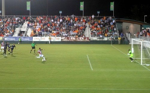 Juan Pablo Ángel uncorks the game-winning PK during Chivas USAs 2-1 win over the Carolina RailHawks in Cary, NC