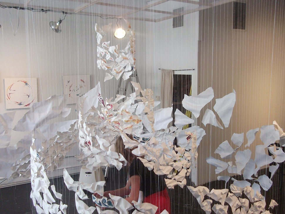 by how to each other we hold (2012), suspended paper installation, sarah goetz