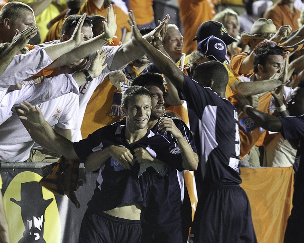 Brian Shriver and the RailHawks celebrate with The 309 Depot