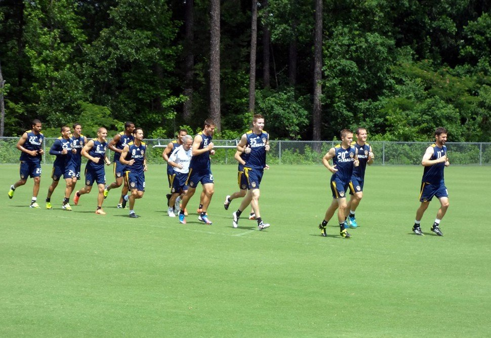 At a training session Monday in Cary, N.C., the L.A. Galaxy are racing into their U.S. Open Cup match against the Carolina RailHawks