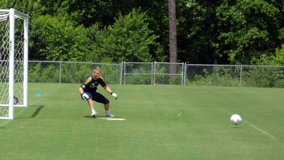 Galaxy goalkeeper Brian Perk in training Monday at WakeMed Soccer Park in Cary