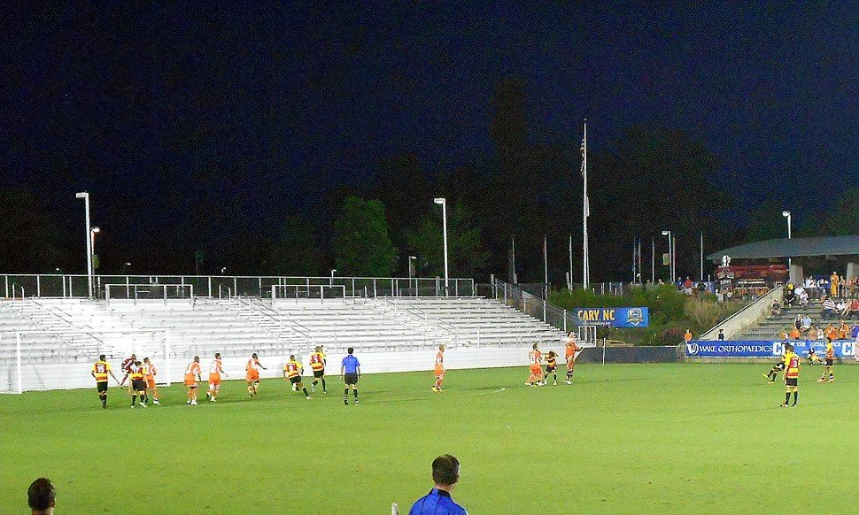 Strikers Lance Laing living off the RailHawks wall during the teams 3-3 draw in Cary