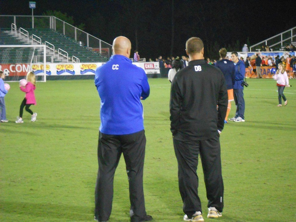 Colin Clarke and assistant coach Dewan Bader ponder the RailHawks hazy future