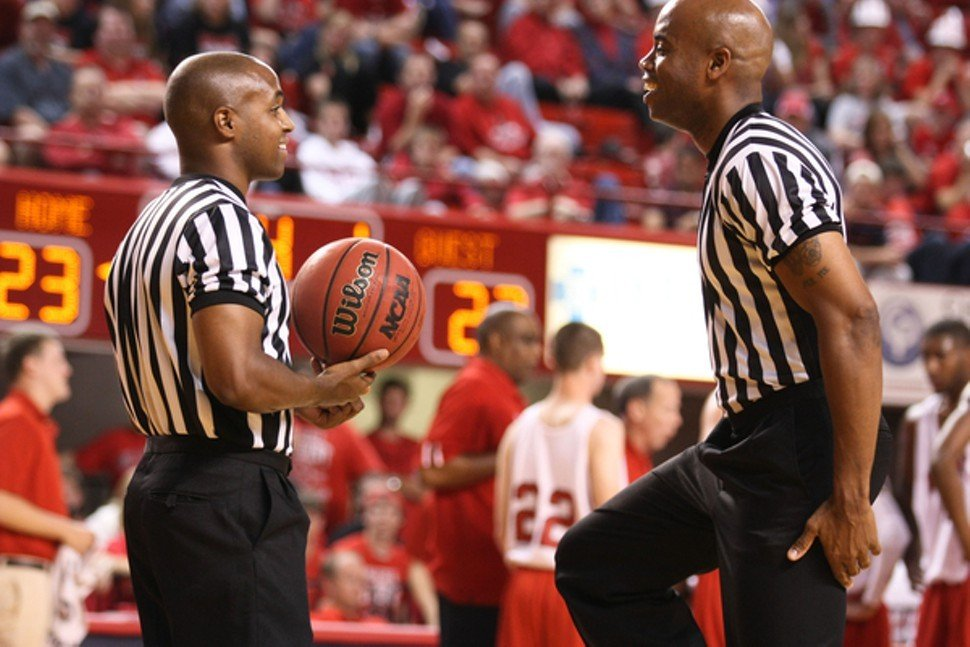 These friendly fellows officiated at an N.C. State preseason event, not yesterday in Atlanta.